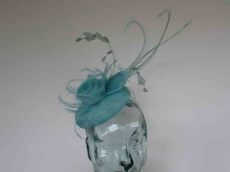 Pillbox fascinator with triple quill in turqouise