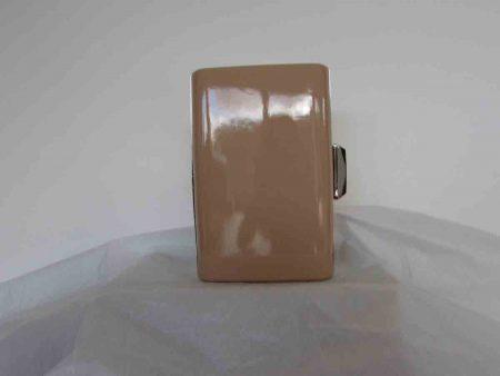 Patent clutch bag in nude