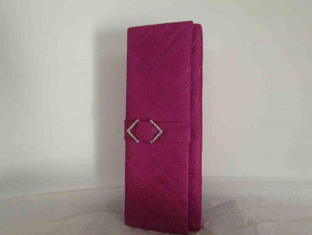 Sinamay clutch bag in fucshia