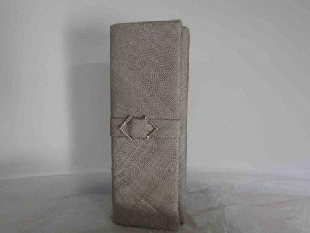 Sinamay clutch bag in platinum