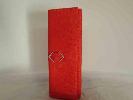 Sinamay clutch bag in vermillion