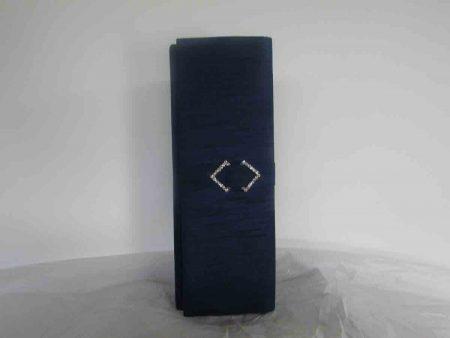 Silk clutch bag in midnight navy