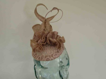Lace pillbox fascinator in rose gold