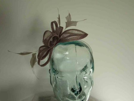 Sinamay fascinator in mink