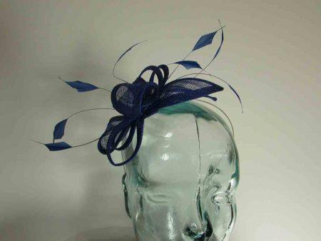 Sinamay fascinator in sapphire blue