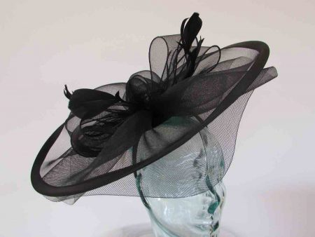 Large crin fascinator with satin trim in black