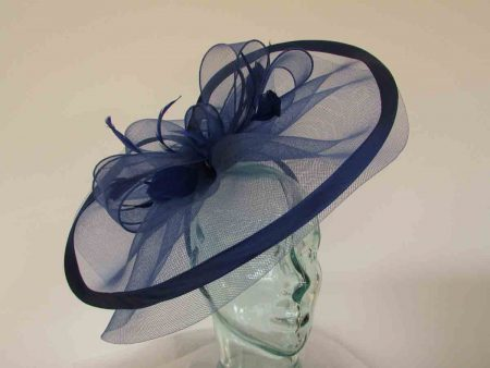 Large crin fascinator with satin trim in cobalt