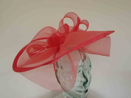 Large crin fascinator with satin trim in bright coral