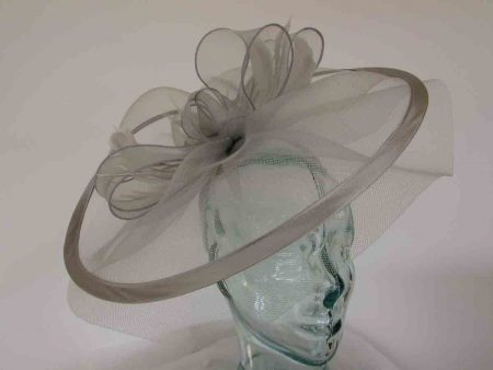 Large crin fascinator with satin trim in silver