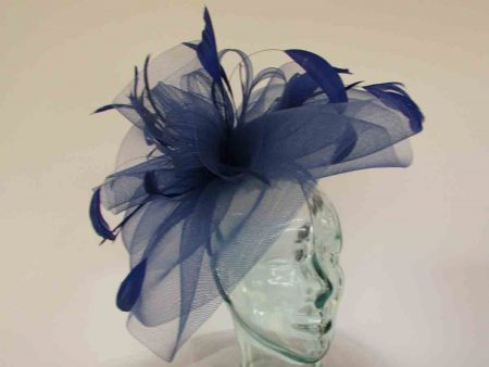Layered crin fascinator in feathers in cobalt