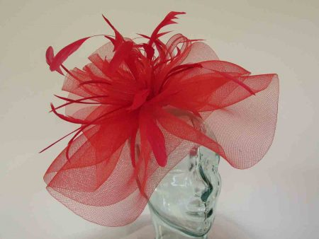 Layered crin fascinator in feathers in red