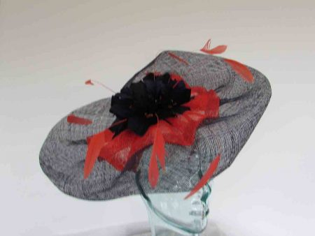 Wavy 2 colour fascinator in navy and orange