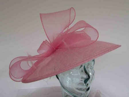 Sinamay hatinator with crin bow in wildrose pink