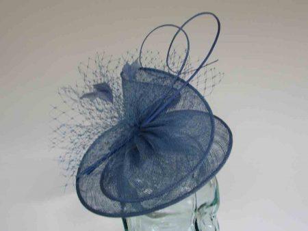 Sinamay swirl fascinator in bluebell
