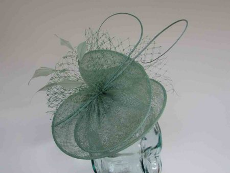 Sinamay swirl fascinator in bermuda mint