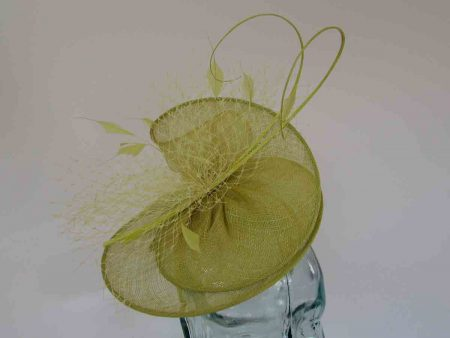 Sinamay swirl fascinator in citrus lime