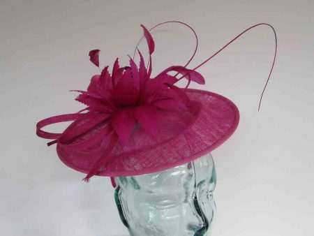 Curicular hatinator with feathered flower in fuchsiapink