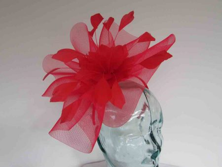 Crin fascinator with feathered flower in carmine red