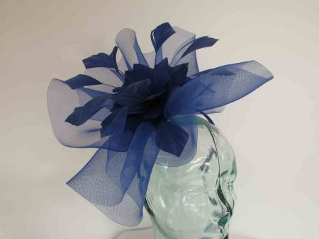 Crin fascinator with feathered flower in cobalt blue