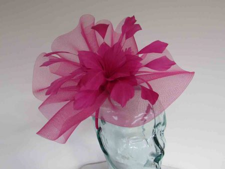 Crin fascinator with feathered flower in fuchsia