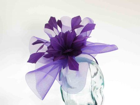 Crin fascinator with feathered flower in pansy purple