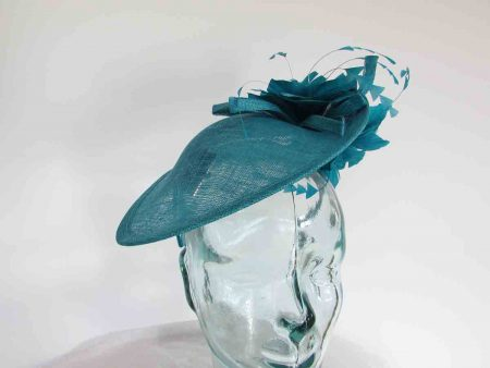 Teardrop fascinator with flowers in peacock blue