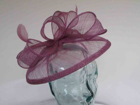 Sinamay fascinator with feathers in cassis purple
