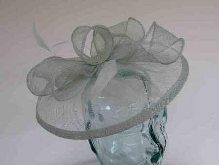 Sinamay fascinator with feathers in duckegg blue