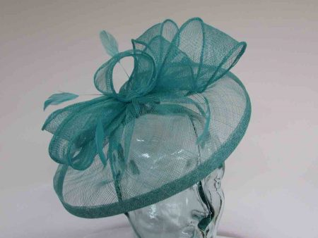 Sinamay fascinator with feathers in lido blue