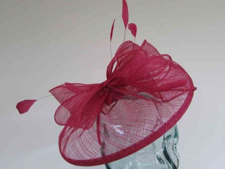 Sinamay fascinator with feathers in Samba pink