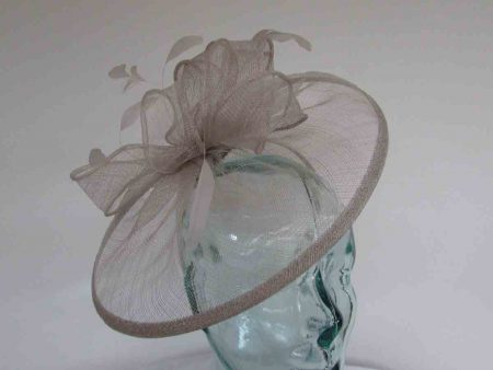Sinamay fascinator with feathers in silver