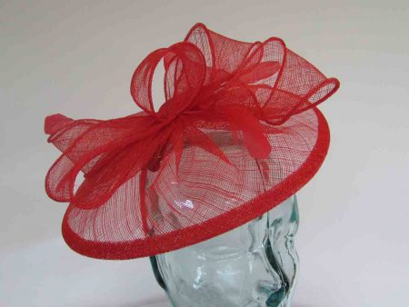 Sinamay fascinator with feathers in vermilion