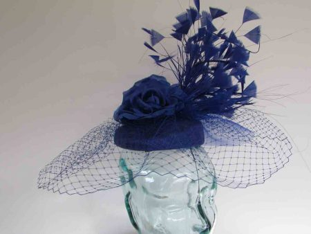 Pillbox fascinator with dramatic feathers in cobalt blue