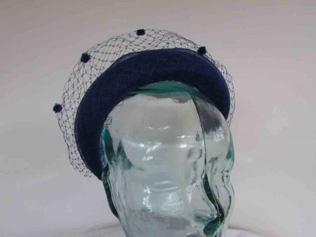 Padded hairband fascinator with netting in cobalt blue