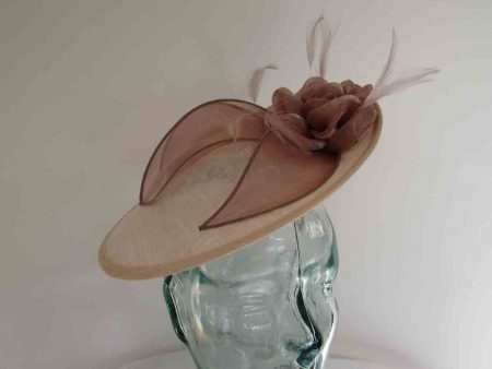 Small hatinator with organza leaves in cameo pink