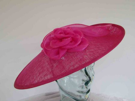 Large hatinator with organza flower and leaves in calypso pink
