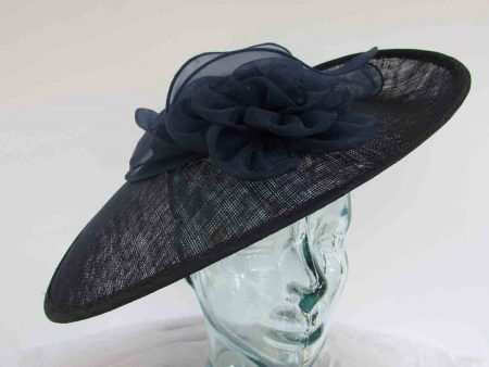 Large hatinator with organza flower and leaves in midnight