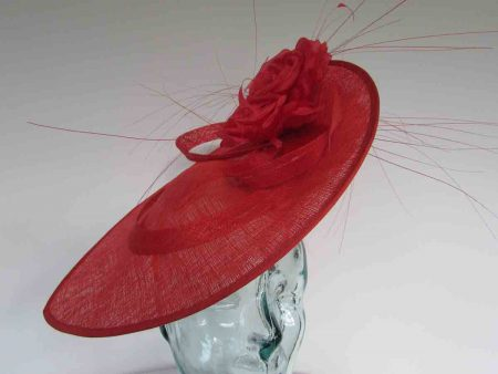 Large teardrop fascinator in vermilion