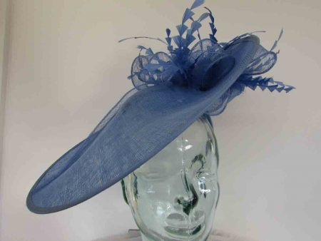 Large hatinator with diamante shaped feathers in bluebell