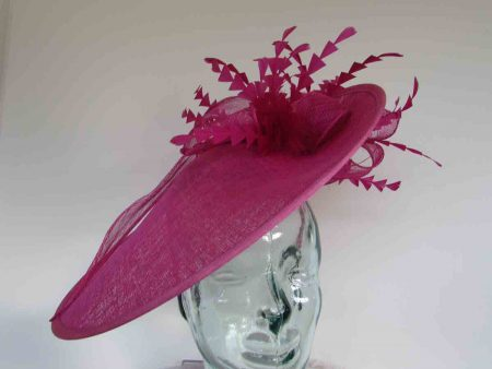 Large hatinator with diamante shaped feathers in fucshia