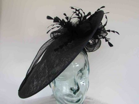 Large hatinator with diamante shaped feathers in navy