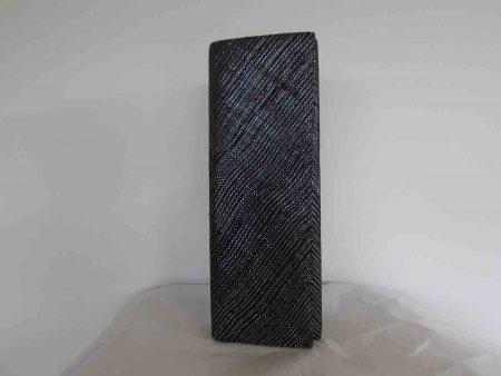 Sinamay clutch bag in metallic black