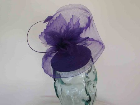 Satin pillbox with crin in pansy purple