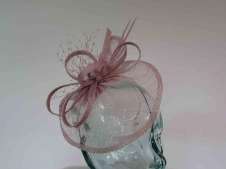 Small sinamay fascinator with netting in heather