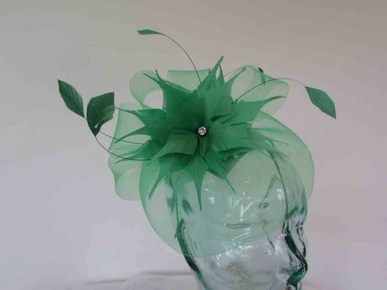 Crin fascinator with feathered flower in spring green