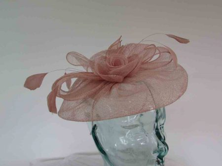Sinamay fascinator with flower in almond