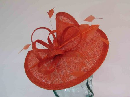 Sinamay fascinator with diamond quill in tangerine