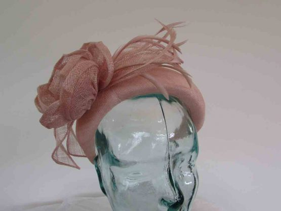 Padded sinamay headband in blush pink