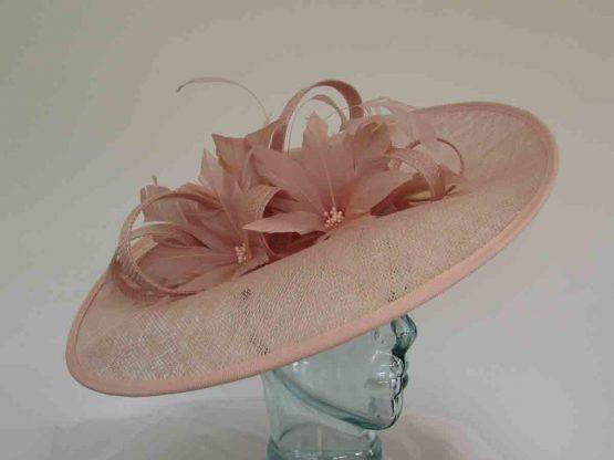 Upturned sinamay hatinator in blush pink