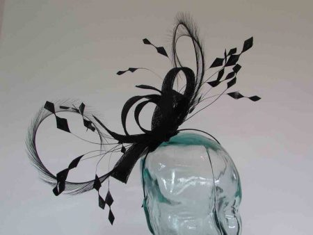 Sinamay looped fascinator with curled feathers in black